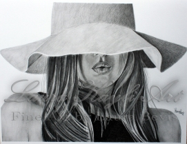 Girl with hat drawing with Watermark