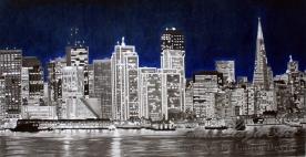 """San Francisco Skyline"" 18x9 Mixed Media"
