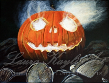 """""""Jack O'Lantern"""" Acrylic Painting"""